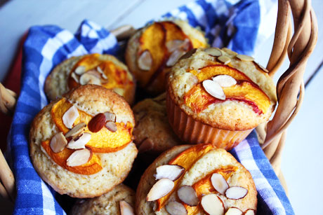 Peach Almond Muffins - She Makes and Bakes